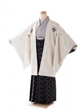 男の子紋付き 袴 白×黒 13歳1307