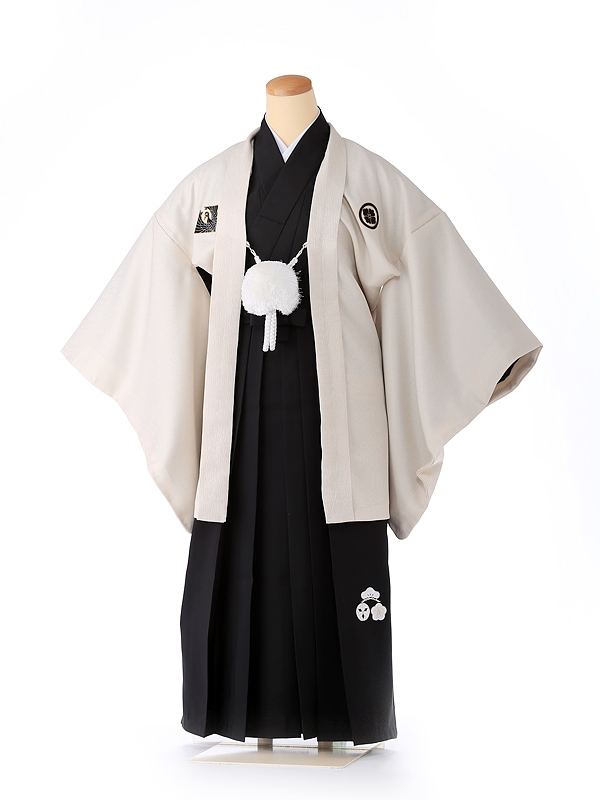 ジュニア男の子 羽織袴 白×黒 松竹梅 1332