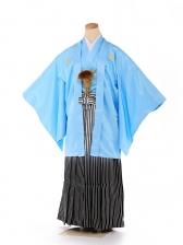 男の子 紋付袴 13歳 水色 縞 FC1325