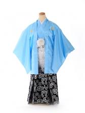 ジュニア男の子 羽織袴 水色亀甲ボカシ 1334