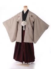 ジュニア男の子紋付き花わらべ 茶×赤 1309