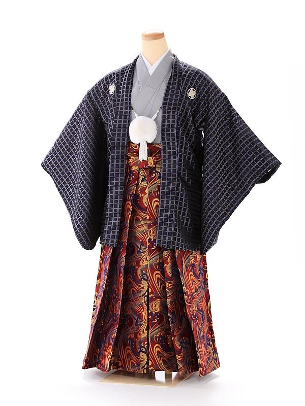 ジュニア男の子 羽織袴 黒格子×赤 1338