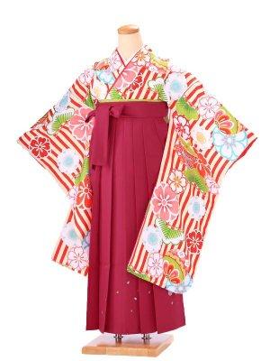 卒業式 女袴 B006 小町キッズ 赤