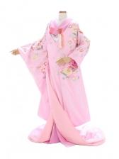 色打掛728/ピンク/ポピーに蝶裾丸