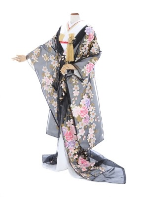 色打掛832/黒/オーガンジー金銀桜