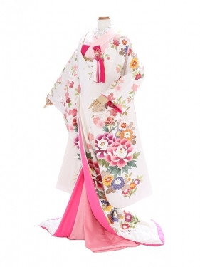 色打掛857/白/ピンク桜牡丹菊鶴