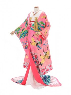 色打掛675/ピンク/笹りんどう裾ラメ/丸章