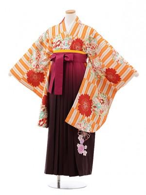 小学生卒業袴(女児)J011 オレンジ 矢柄 花×ローズぼかし袴