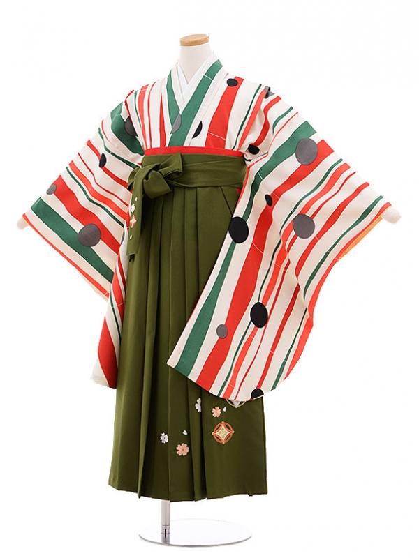 小学生卒業式袴(女の子)E003/白/赤緑ストライプ