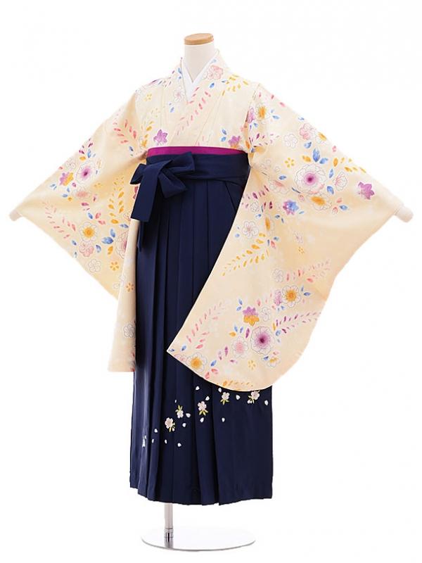 小学生卒業式袴(女の子)E029/うす黄/小花