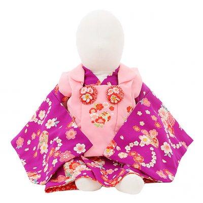女児ベビー着物 0029 ピンク×パープル 桜まり/セパレート