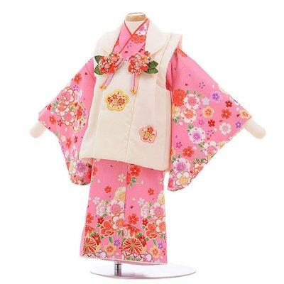 女児ベビー着物 0028 白×ピンク まり 梅桜/セパレート