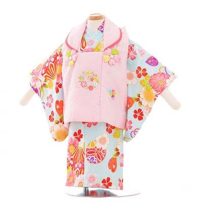 女児ベビー着物 0010  ピンク×水色 花/セパレート