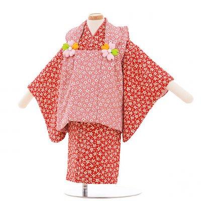 女児ベビー着物 0013  ピンク×エンジ色 小花/セパレート