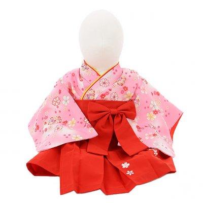 女児ベビー着物 0021 ピンク小花×赤袴/ワンピース