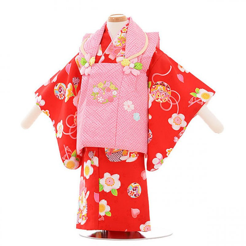 女児ベビー着物 0009  ピンク×赤 うさぎ/セパレート
