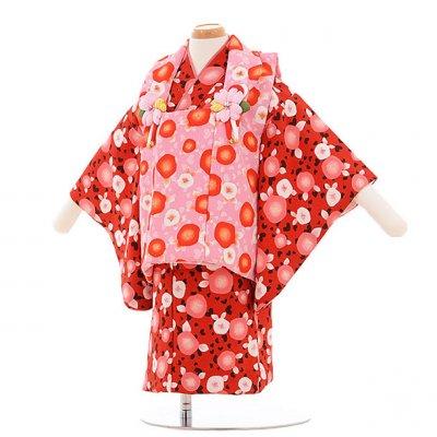 女児ベビー着物 0014  ピンク×赤 ハート椿/セパレート