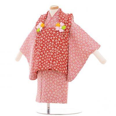 女児ベビー着物 0018  エンジ色×ピンク 小花/セパレート