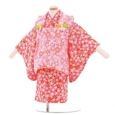女児ベビー着物 0015  ピンク×赤 桜/セパレート