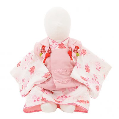 女児ベビー着物 0037 ピンク×白地 バラセパレート
