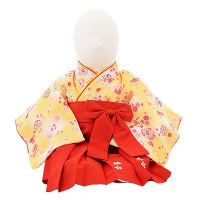 女児ベビー着物 0020 黄色小花×赤袴/ワンピース