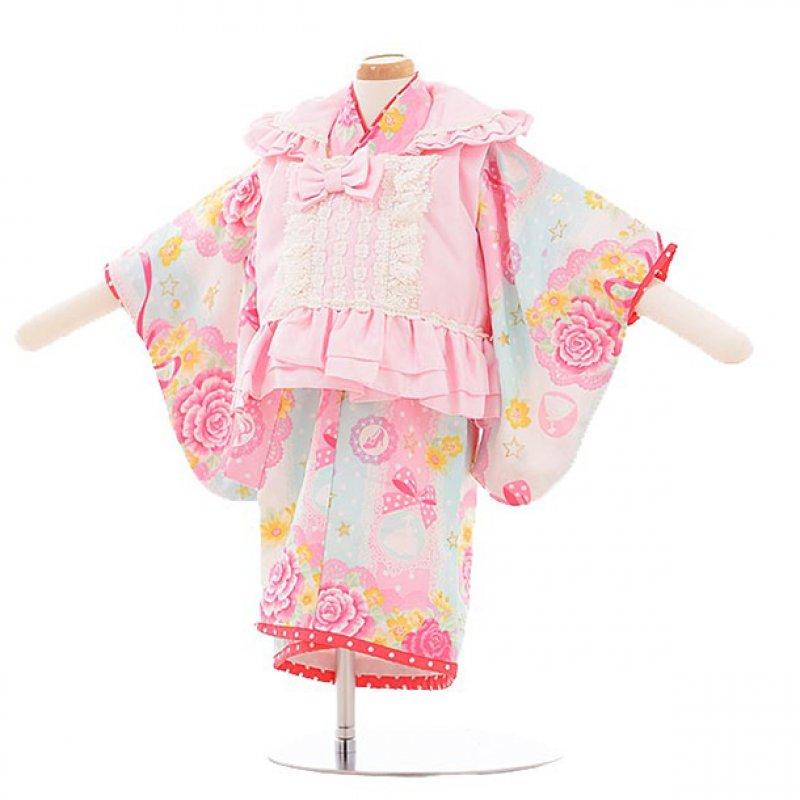 女児ベビー着物 0007 seiko ピンク×水色バラ/被布