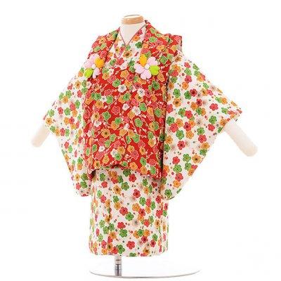 女児ベビー着物 0016  赤×白 梅/セパレート