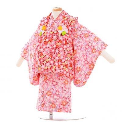 女児ベビー着物 0017  赤×ピンク 桜/セパレート