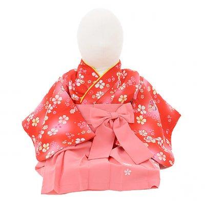 女児ベビー着物 0022 赤小花×ピンク袴/ワンピース
