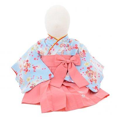 女児ベビー着物 0019 水色小花×ピンク袴/ワンピース