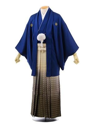男性用袴レンタル2036紋付紺刺子×金松葉ぼかし