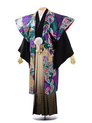 男性用袴レンタル2007 かぶき紋付×金松葉ぼかし