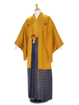 男性用袴レンタル2095紋付 金茶刺子×紺金丸紋