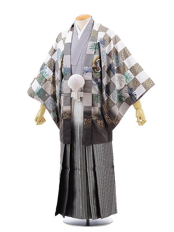 男性用袴レンタル2003 グレー柄紋付×銀黒ぼかし