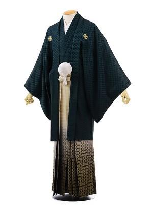 男性用袴レンタル2029紋付グリーン鱗紋×金松葉ぼかし