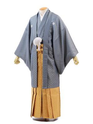 男性用袴レンタル2045紋付グレー菱杉×ゴールド