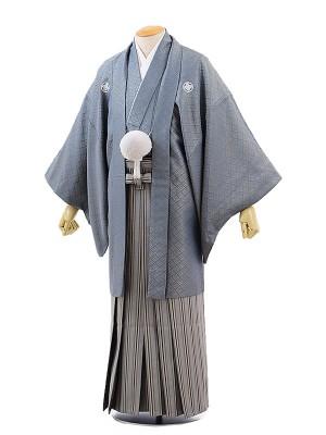 男性用袴レンタル2062紋付グレー菱杉×グレー菱地紋黒太縞