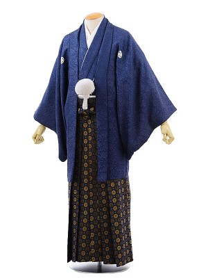 男性用袴レンタル2030紋付紺ラメ地紋×紺金丸紋