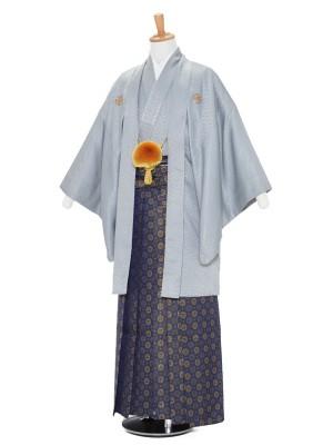 男性用袴レンタル2091紋付 グレー×紺金丸紋