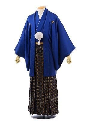 男性用袴レンタル2037紋付紺刺子×紺金丸紋