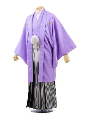 男性用袴レンタル2059紋付パープル×銀黒ぼかし