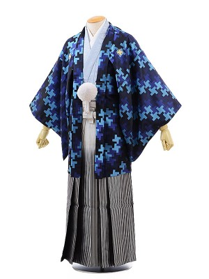 男性用袴レンタル2002 紺柄紋付×銀黒ぼかし