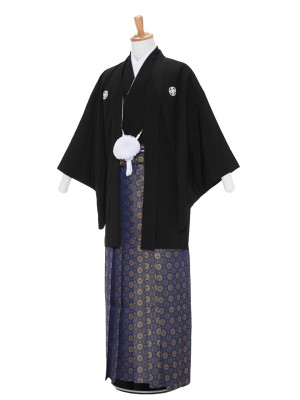 男性用袴レンタル2100紋付 黒×紺金丸紋