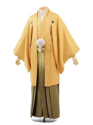 男性用袴レンタル2032紋付ゴールド×グリーンぼかしゴールド縞