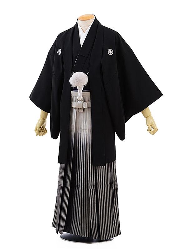 男性用袴レンタル2039紋付黒×ライトグレー黒ぼかし