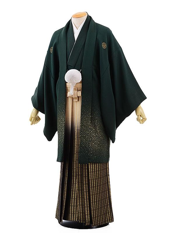 男性用袴レンタル2053紋付グリーン吹雪×白黒ゴールド若松