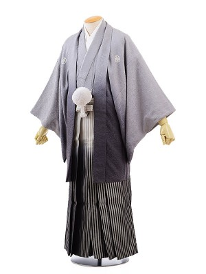 男性用袴レンタル2060紋付グレーぼかし地柄×ライトグレー黒ぼかし