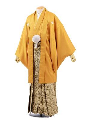 男性用袴レンタル2047紋付イエローゴールド菱型×ゴールド紋