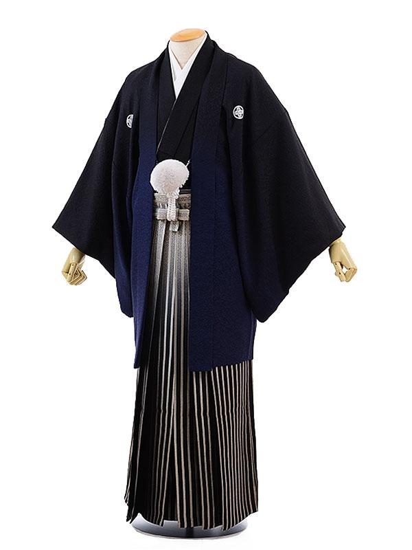 男性用袴レンタル2046紋付黒紺ぼかし×黒小石柄