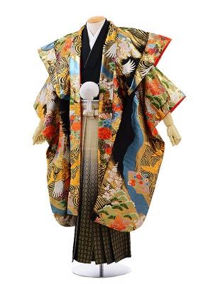 男性用袴レンタル2008 かぶき紋付×金松葉ぼかし